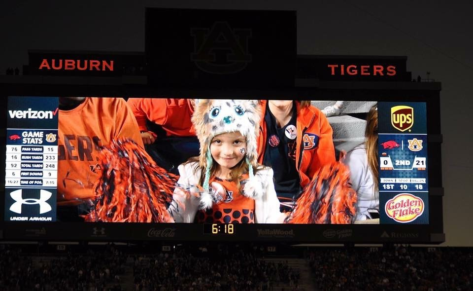 Niece on Jumbotron at Auburn