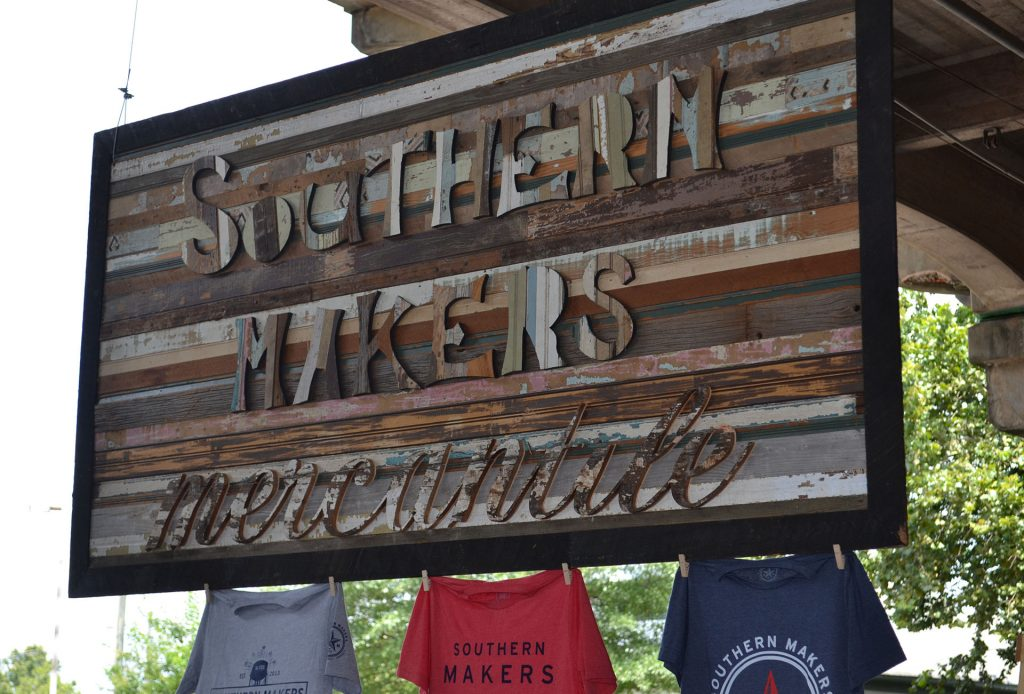 Southern Makers Mercantile sign with t-shirts: Photo by Sheree Martin