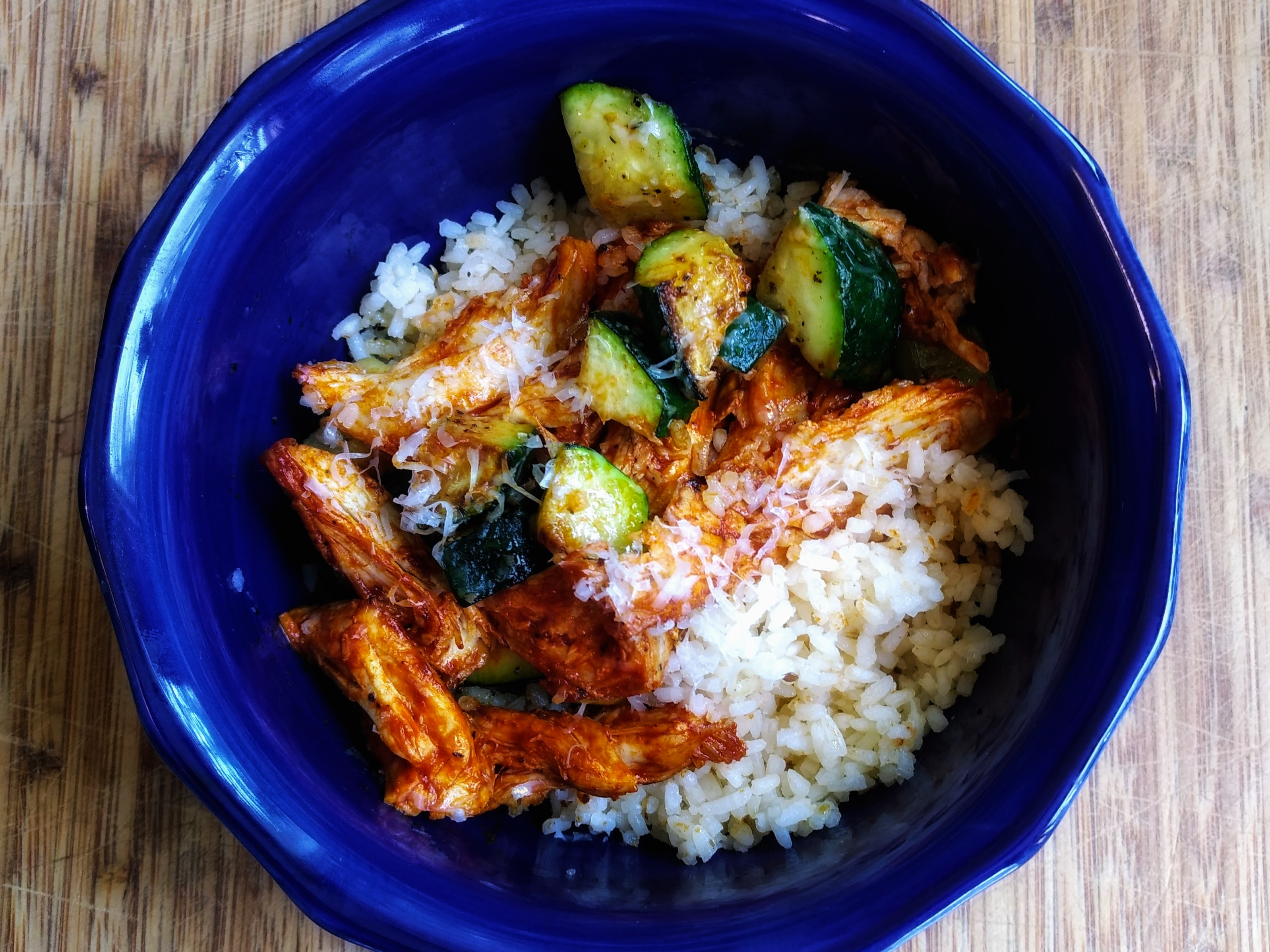Middlins with Red Chili Chicken and Zucchini